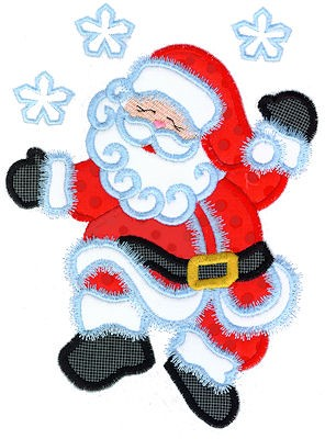 Dancing Santa Applique Embroidery Design 6 x 10 Size